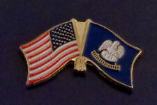 Louisiana State Flag & US Untied States Flags Crossed Lapel Pin USA LA