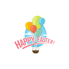 """Happy Easter Balloons Bunny Window Cling (17.5"""" x 16.5"""")"""