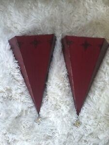 PAIR Southern Living at Home Sassy Red Wall Sconce Metal Tin Distressed NIB