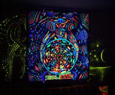 "UV BLACKLIGHT TAPESTRY ""World"" - uv backdrop wall hanging trippy psychedelic art"