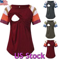 Women Pregnant Clothes Nursing Tops Mom Breastfeeding Shirt Short Sleeve T-Shirt
