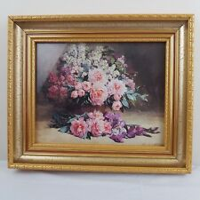 'Lilacs and Peonies with Irises' by Pauline Casper Print Gold Frame