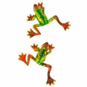 """SET OF 2 Frog Metal Wall Hanging 7"""" W Outdoor Home Decor Spring Summer"""