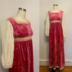 1970s Pink Velvet Praire Dress With Lace - Balloon Sleeve, Gunne Sax Style, SM