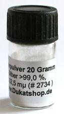 Silberpulver 20g  99,5 % rein Ag. ca. 5 µm Pudersilber E 174 Silber Silberlack