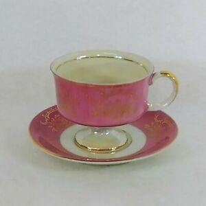 Teacup Saucer Royal Crown Footed Cup Iridescent Pink Gold Trim #2852 Vintage