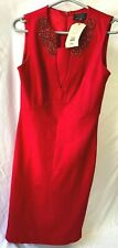 TED BAKER 'EDELLA' RED STRETCHY PENCIL DIAMANTES NECKLINE DRESS SIZE 2 UK 10