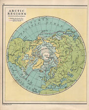 1934 MAP ~ ARCTIC REGIONS NORTH POLE ~ GREENLAND SIBERIA