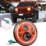 "Orange 7"" Round Angle Eye LED Headlight Hi/Low Beam Halo For Jeep Wrangler JK LJ"