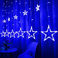 138LED Star Christmas Curtain Window Fairy Lights Indoor Party Weeding Xmas Blue