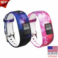 2 Pack Galaxy Silicone Watch Band Strap Replacement for Garmin Vivofit 3 & JR
