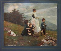 ITALIAN FAMILY Mothers Children Countryside Dog - COLOR Antique Print