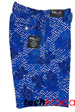 RLX Golf by Ralph Lauren Blue Geo Floral Lightweight Performance Loud Shorts
