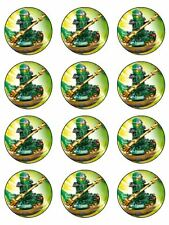 "24 LEGO NINJAGO GREEN 2"" CUPCAKE EDIBLE WAFER PAPER CAKE TOPPERS #1"