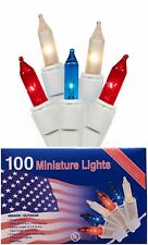 Patriotic String Lights 100 Mini Red White and Blue Bright Bulbs Indoor Outdoor