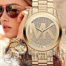 Original Michael Kors Uhr Damenuhr MK5706 Runway XL Farbe:Gold/Kristall NEU