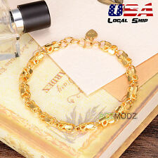 Women 24K Gold Plating Bracelet Fashion Jewelry Hollow Carving Link Chain Bangle