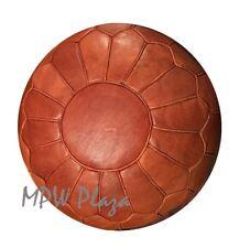 MPW Plaza Pouf, Retro, Brown, Moroccan Leather Ottoman (Stuffed)