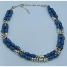 Double Strand .925 Sterling Silver Natural High Grade Blue Denim Lapis Necklace