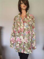 Laura Scott Plus Size 20W Blouse Designer Fashion Clothing Roses Button Down