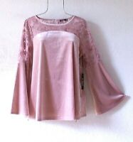 New~Mauve Pink Velvet & Lace Peasant Blouse Shirt Boho Top~Size Small S