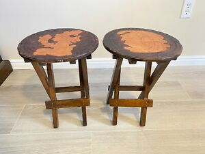 Set 2 VTG Round Wood & Tooled Leather Folding Stools Side Tables Plant Stands
