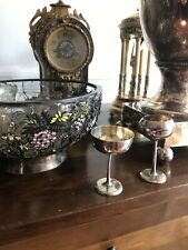 Antique 19th C Pair Of Rare Chinese Solid Silver Wine Cup Salt Pot By Luen Wo
