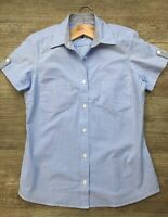 Vintage Style Women's Pale Blue Cotton Short Sleeved Gingham Petite Fit Shirt