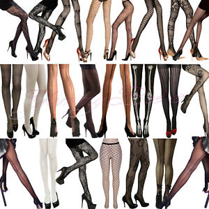 Tights Women Fishnet Sheer Seams Stripe Pattern XL Black Silky Nude Fancy Dress
