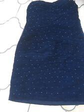 Vestito Da Festa Sera. Navy Off spalla. con perline. Taglia 10/12 vedi descrizione