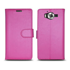 Plain Pink Leather Wallet Book Protect Phone Case for Apple iPhone 4 5 6 7 8 & X LUMIA LUMIA 650