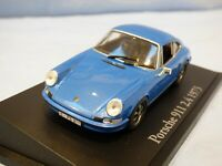 ATLAS 1:43 Blue 1973 Porsche 911 2.4 Diecast Diorama Detailed Sports Car Toy
