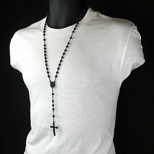 Mens Hip Hop 5mm MATTE BLACK Beads Round Guadalupe Rosary & Jesus Cross Necklace