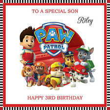 Personalised Handmade Paw Patrol Birthday Card any text ....son daughter etc