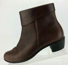 Ecco Ankle Boots Brown Leather Side Zipper Casual Comfort Womens Sz 39 US 8/8.5