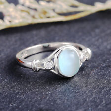 Fashion Women Jewelry 925 Silver Rings Oval Cut Moonstone Wedding Rings Size 9