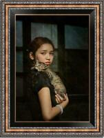 Hand-painted Original Oil painting art Portrait chinese girl cat on Canvas