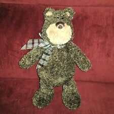Gund MUGZEY JR. Brown Bear 13in Soft Plush Brown Plaid Sheer Nylon Bow 15206