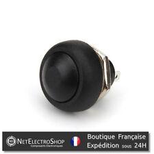 Bouton Poussoir Momentané - Etanche - 12mm - Noir