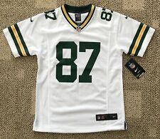 Youth Size M Nike NFL Green Bay Packers Football Jersey White  87 Jordy  Nelson a80e62504
