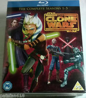 STAR WARS THE CLONE WARS COMPLETE SEASONS 1-5 New BLU-RAY 1 2 3 4 5 TV series