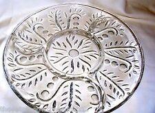 "Federal Glass Gift Ware Platter Clear Dot Leaf 2875  11.5"""