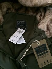 NWT Abercrombie & Fitch hollister Green Long Down Stretch Parka Puffer Slim S