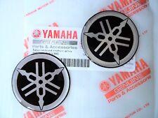 2 x Yamaha Gel Tank Dome Silver Decal YZF R1 R6 Fazer 45mm * GENUINE + UK STOCK*
