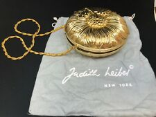 Judith Leiber Round Gold Clutch Flower Design RARE SOLD OUT EVERYWHERE GRAB IT