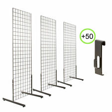 "BLACK 2X6 3PCS PACK GRIDWALL & 3 SETS T-LEG+50 PICTURE HOOKS+ 12 PCS 6"" PEGHOOKS"
