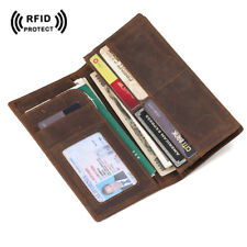 RFID Leather Wallet Long Purse Bifold Passport Ticket Holder ID Secure Vintage