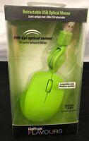 ReTrak Flavours Retractable USB Optical Mouse 800 dpi Sensor 2.6 ft cord *Green*