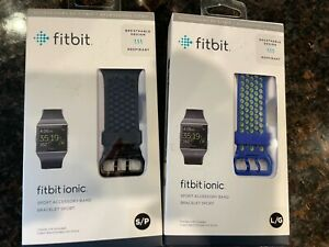 New Fitbit Ionic Sport Accessory Band/Bracelet Blue L/G Or Black S/P NEW SEALED