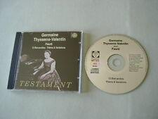 FAURE 13 Barcarolles/Theme & Variations Germaine Thyssens-Valentin CD album